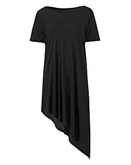 Black Short Sleeve Asymmetric Tunic