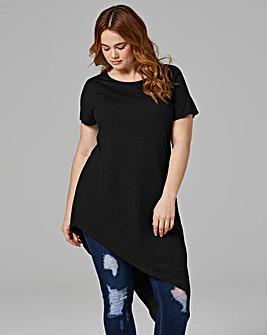 Black Short Sleeve Asymmetric Tunic