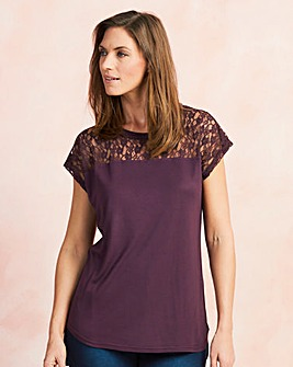 Mulberry Lace Yoke Dip Back T-shirt