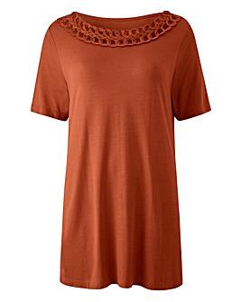 Terracotta Short Sleeve Plait Trim Top