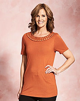Terracotta Short Sleeve Plait Trim Top