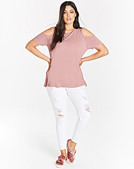 Dusty Pink Cold Shoulder T-shirt