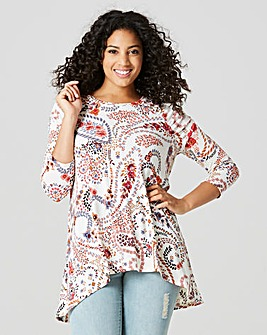 Ruched Shoulder Dip Back Tunic