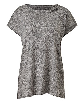 Grey Marl Cut Out Neck T-shirt