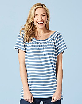 White/Blue Stripe Pack of 2 Bardot Tops