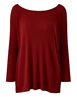 Spice Red Off Shoulder Rib Split Tunic