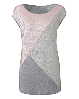 Colour Block Textured Shell Top
