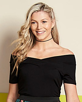 Black Short Sleeve V Neck Bardot Top