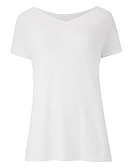 White Short Sleeve V Neck Bardot Top