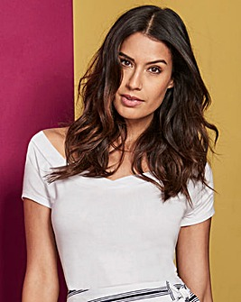 White Short Sleeve V Neck Bardot Top