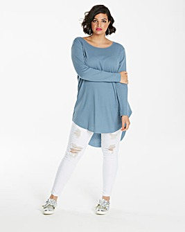 Smokey Blue Scoop Dip Back Rib Tunic