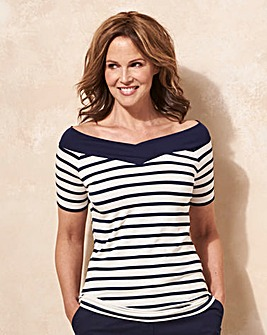 Stripe Short Sleeve V Neck Bardot Top