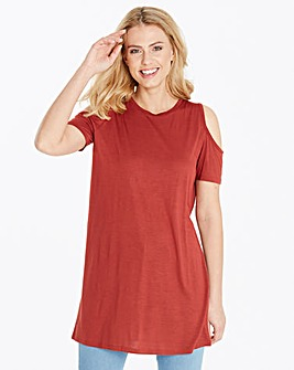 Spice Short Sleeve Cold Shoulder Tunic