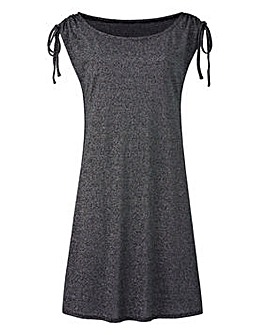 Black Metallic Ruched Shoulder Tunic
