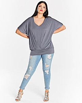 Steel Grey Pleat Front Hem Top
