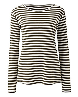 Khaki/Ivory Stripe Long Sleeve Top