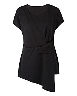 Black Tie Front Short Sleeve Top