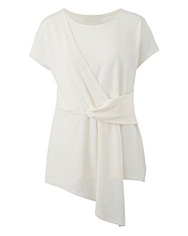 Ivory Tie Front Short Sleeve Top