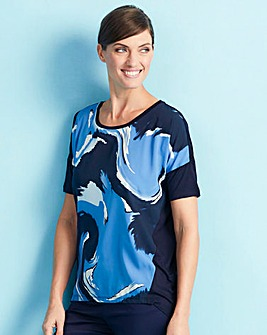 Blue Print Dip Back Woven Front Top