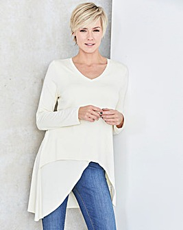 Buttermilk Wrap Over V Neck Top