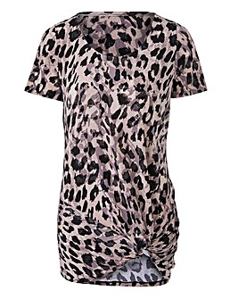 Leopard Print Twist Knot Top