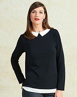 Black Long Sleeve Collar Detail Top
