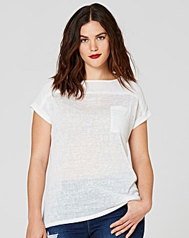 Ivory Lightweight Slub Short Sleeve Top