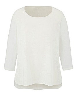 Ivory Lightweight Slub 3/4 Sleeve Top