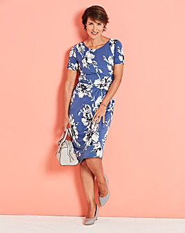 Floral Print Jersey Side Ruched Dress