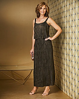 Plisse Double Layer Maxi Dress