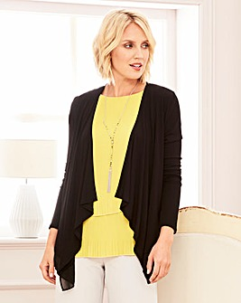 Jersey Cardigan With Chiffon Trim