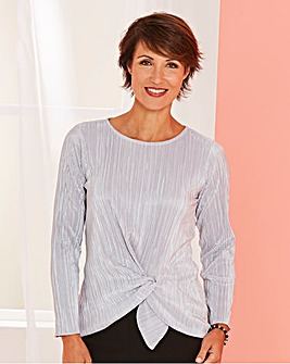Plisse Top with Knot Detail