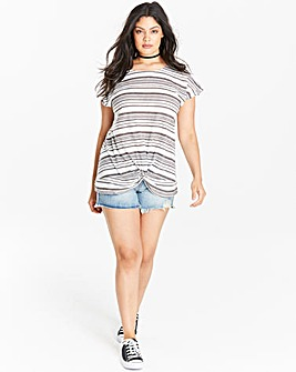 Navy/White Stripe Twist Hem Jersey Top