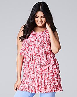Pink Print Ruffle Tunic