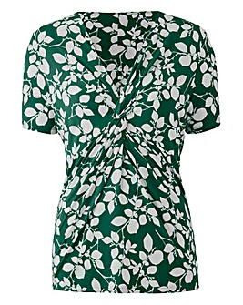 Green Floral Twist Knot Jersey Top