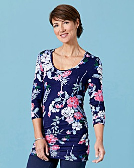 Navy Print Ruched Side Top