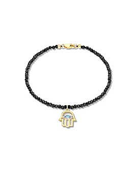 9ct Gold Diamond charm spinel bracelet