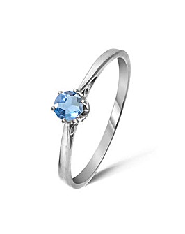 9ct White Gold 0.3Ct Blue Topaz Ring