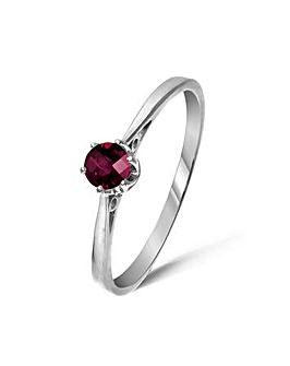 9ct White Gold Rhodolite Garnet Ring