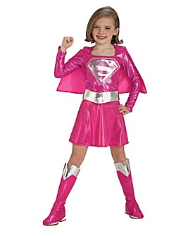 Girls Pink Supergirl Costume