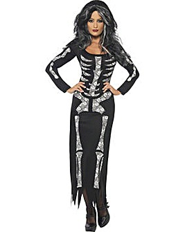 Ladies Long Skeleton Dress Costume