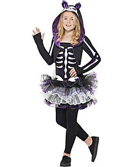 Halloween Girls Skelly Cat Costume