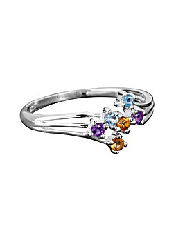 Silver Amethyst Citrine and Topaz Ring