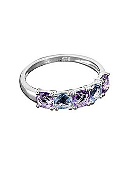 Silver Amethyst and Blue Topaz Ring