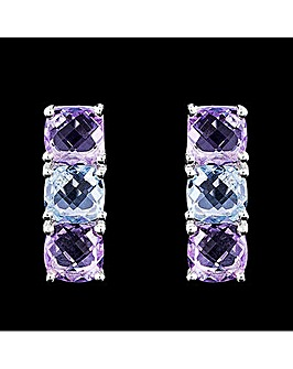 Silver Amethyst and Blue Topaz Earrings