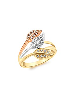 9Ct Gold Leaf Shaped Diamond Ring