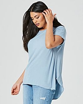 Chambray Blue Curved Dip Back Ribbed Top