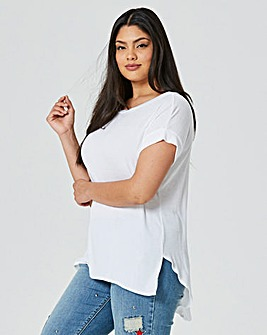 White Curved Dip Back Ribbed Top
