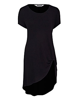 Black Short Sleeve Knot Detail Tunic