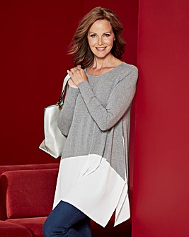 Grey/White Woven Hem Swing Tunic